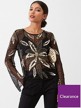 river-island-river-island-floral-sequin-long-sleeve-top-black