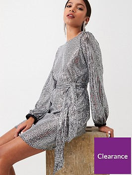 river-island-river-island-sequin-belted-dress-silver