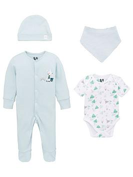 V by Very V By Very Baby Boys 4 Piece Sleepsuit, Bodysuit, Hat And Bib Set  ... Picture