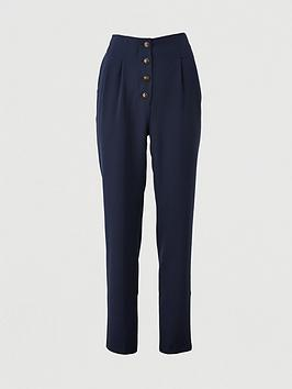V by Very V By Very Button Front Slim Trousers - Navy Picture