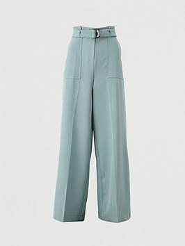 V by Very V By Very Buckle Detail Wide Leg Trousers - Sage Picture