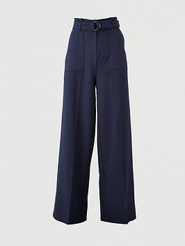 V by Very V By Very Buckle Detail Wide Leg Trousers - Navy Picture