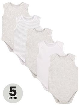 V by Very V By Very Baby Unisex 5 Pack Sleeveless Essential Grey Mix  ... Picture