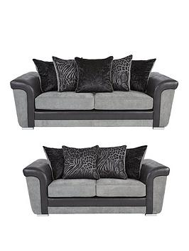 Very Manhattan Fabric And Faux Snakeskin Scatter Back 3 + 2 Seater Sofa  ... Picture