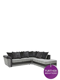 manhattan-fabric-and-faux-snakeskin-right-hand-single-arm-scatter-back-corner-chaise-sofa