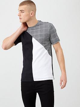 river-island-grey-check-slim-fit-crew-neck-t-shirt