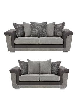 Very Vidal Fabric And Faux Snakeskin 3 + 2 Seater Scatter Back Sofa Set  ... Picture