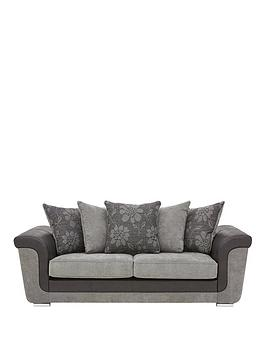 Very Vidal Fabric And Faux Snakeskin 3 Seater Scatter Back Sofa Picture