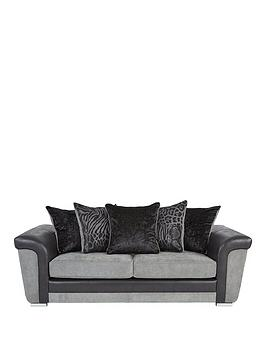 Very Manhattan Fabric And Faux Snakeskin Scatter Back 3 Seater Sofa Picture