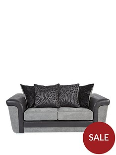 manhattan-fabric-and-faux-snakeskin-scatter-back-2-seater-sofa