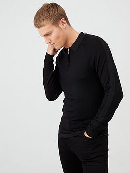 river-island-black-slim-fit-half-zip-knitted-polo-shirt