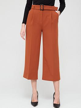 V by Very V By Very Wide Leg Belted Crop Trousers - Rust Picture