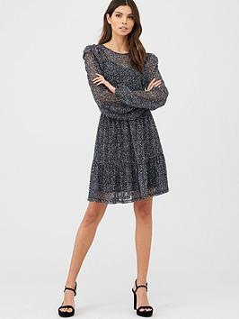 v-by-very-mesh-ruched-front-mini-dress-mono-print