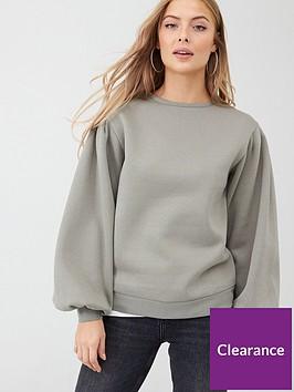 v-by-very-volume-sleeve-sweat-top-khaki