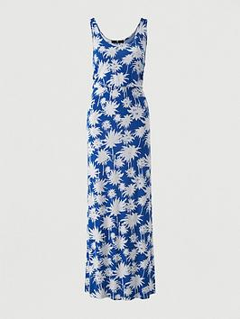 V by Very V By Very Channel Waist Jersey Beach Maxi Dress - Blue Print Picture