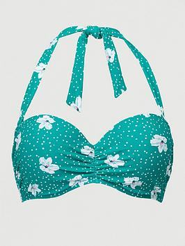 V by Very V By Very Shapewear Underwired Bikini Top - Green Floral Picture