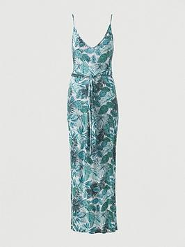 V by Very V By Very Strappy Belted Beach Midi Dress - Green Print Picture