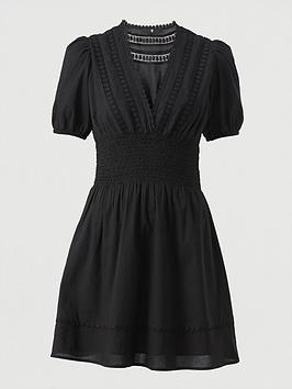 V by Very V By Very Lace Insert Cotton Puff Sleeve Mini Beach Dress - Black Picture