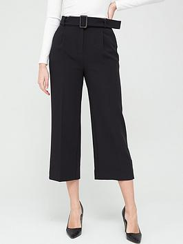 V by Very V By Very Wide Leg Belted Crop Trousers - Black Picture