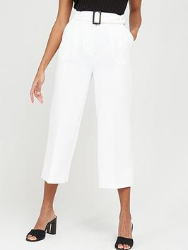 V by Very V By Very Wide Leg Belted Crop Trousers - Ivory Picture