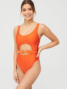 V by Very V By Very Belted High Leg Swimsuit - Bright Orange Picture