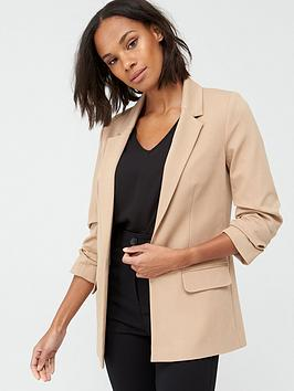 V by Very V By Very Ultimate Ruched Sleeve Blazer - Camel Picture