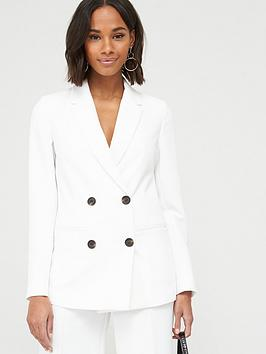 V by Very V By Very Longline Single Breasted Blazer - Ivory Picture