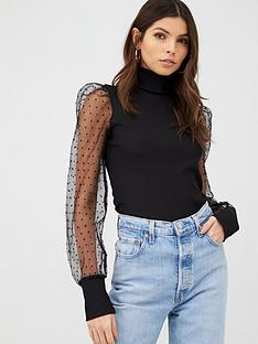 v-by-very-high-neck-dobby-puff-sleeve-jersey-top-black