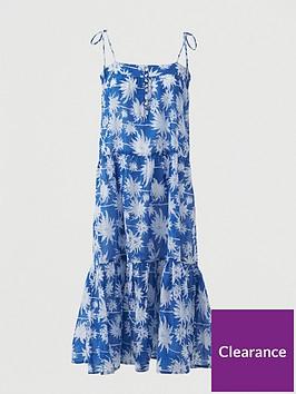 v-by-very-cotton-tie-shoulder-midi-beach-dress-blue-print