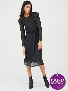 v-by-very-spot-frill-sleeve-mesh-midi-jersey-dress-black