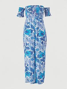 v-by-very-shirred-knot-detail-bardot-beach-jumpsuit-white-print