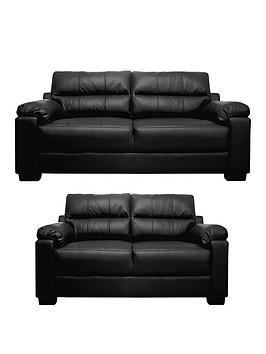 Very Saskia Leather/Faux Leather 3 Seater + 2 Seater Compact Sofa Set (Buy  ... Picture