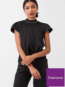 river-island-river-island-diamante-neck-trim-shell-blouse-black