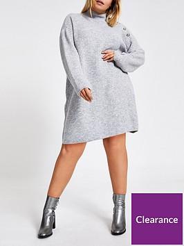 ri-plus-ri-plus-shoulder-button-detail-knitted-dress--grey