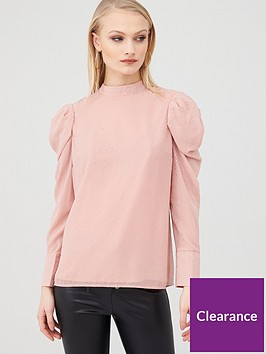 river-island-sequin-puff-sleeve-high-neck-blouse--pink