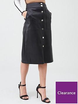 river-island-river-island-pu-button-through-midi-skirt-black