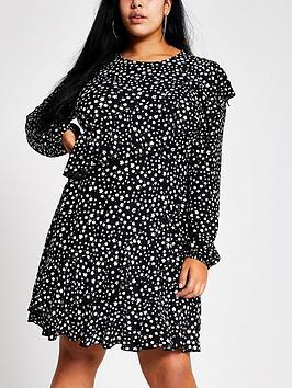 RI Plus Ri Plus Ri Plus Ditsy Print Frill Tea Dress- Black Picture