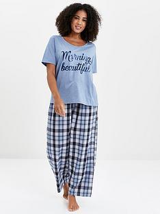 evans-morning-beautiful-check-pant-pyjama-set-blue