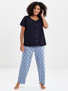 evans-spot-chambray-pant-pyjama-set-blue