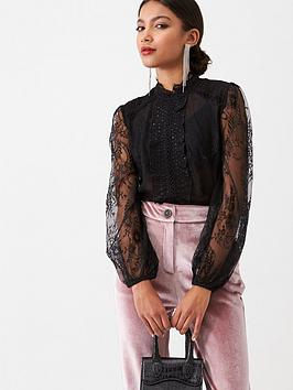 River Island River Island River Island Lace Long Sleeve Frill Front  ... Picture