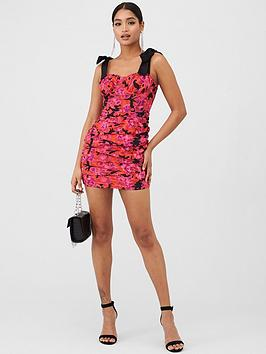in-the-style-in-the-style-x-fashion-influx-floral-print-tie-shoulder-ruched-mini-dress-ndash-pink