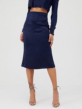In The Style In The Style In The Style X Laura Jade Satin Midi Skirt - Navy Picture