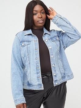 V by Very Curve V By Very Curve Denim Jacket - Mid Wash