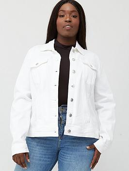 V by Very Curve V By Very Curve Denim Jacket - White Picture