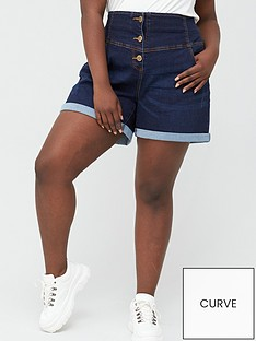 v-by-very-curve-high-waisted-denim-shorts-indigo