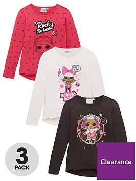 lol-surprise-girls-3-pack-long-sleeve-t-shirts-multi