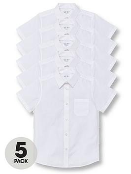 V by Very V By Very Boys 5 Pack Short Sleeve School Shirts Picture