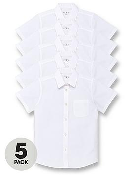 V by Very V By Very Girls 5 Pack Short Sleeve School Blouses - White Picture