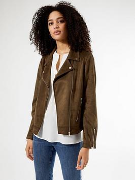 dorothy-perkins-suedette-biker-jacket-khaki