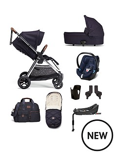 mamas-papas-flip-xt3-8-piece-travel-system-pushchair-carrycot-adaptors-cupholder-bag-footmuff-cybex-aton-5-car-seat-isofix-base